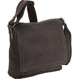 Distressed Unisex Leather Laptop Messenger Bag